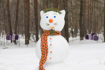 snowman like man with mustache