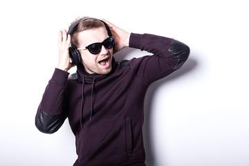 Man listening music.