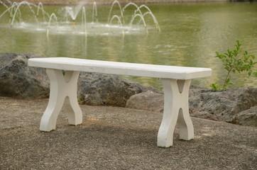 White wooden bench