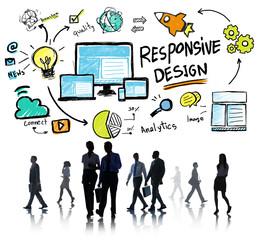 Responsive Design Internet Web Business People Commuter Concept