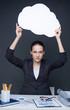 Woman with speech cloud