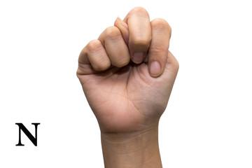 Finger Spelling the Alphabet in American Sign Language (ASL).N