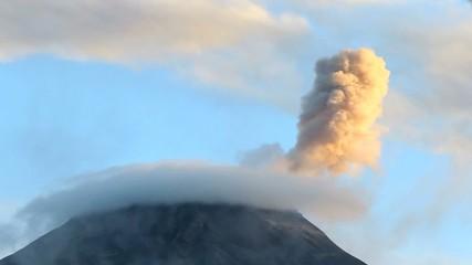 Tungurahua Volcano erupting, Ecuador, Time-lapse
