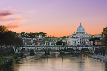Sunset lights of the basilica St Peter in Rome, Italy