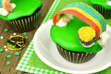 Rainbow pot of gold St Patricks Day cupcake close up