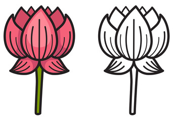 colorful and black and white lotus for coloring book
