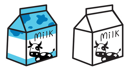 colorful and black and white milk for coloring book