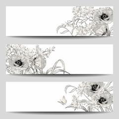 Vector Vintage Floral Banner