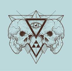 Abstract Hipster Skulls Art