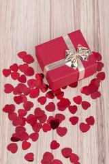 Red hearts confetti in box valentine love concept