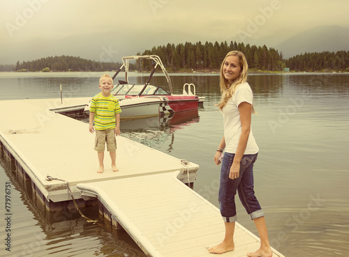 Family enjoying the day at a picturesque lake
