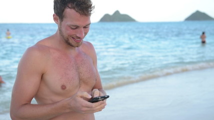 Vacation man using mobile cell smart phone app