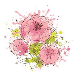 Abstract flowers illustration -- peonies