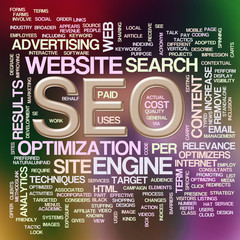 Illustration of wordcloud of seo- search engine optimization
