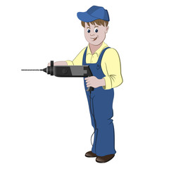 Repairman or handyman standing with a perforator or drill