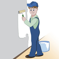 Illustration of worker with roller and paint painting the wall