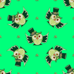 St. Patrick's day with owl. Seamless pattern on a colored backgr