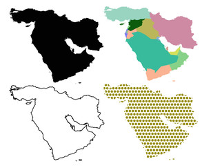 Four Vector maps of The Middle East