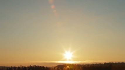 Timelapse sunrise with clear sky in wide angle