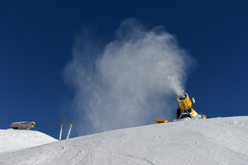 Snow cannon making snow