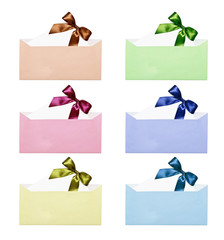 Set of envelopes and the letter with a bow