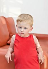 portrait three-year-old kid serious