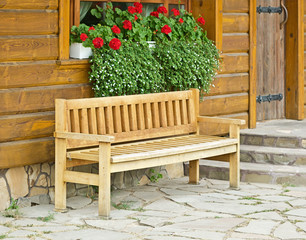Wooden bench in the old town