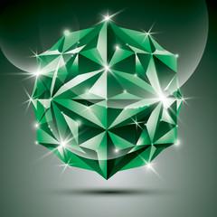 Party 3D green shiny disco ball. Vector fractal dazzling abstrac