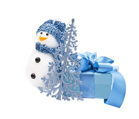 blue snowman, fir-tree, gift