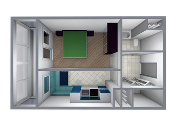 model  of the one-room apartment with furniture