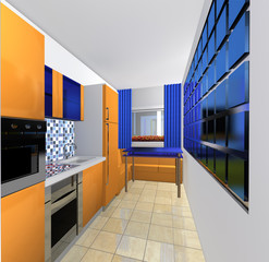 blue orange model  of the kitchen apartment with furniture