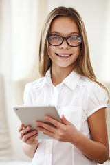 School girl with tablet pc