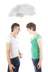 Young couple fighting with dark cloud isolated