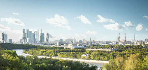 Panoramic view of Moscow city from Sparrow Hills