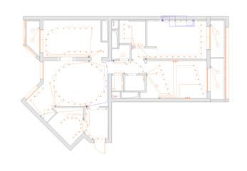 The plan of arrangement of illuminants of the apartment
