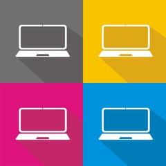 Iconos portátil colores sombra
