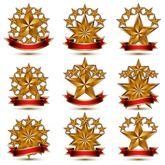 Collection of geometric vector round glamorous golden elements,