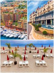 Monaco casino, harbour, beach collage, Cote d'Azur