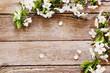 Leinwandbild Motiv flowers on wooden background