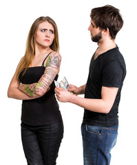 Couple with dollar cash money