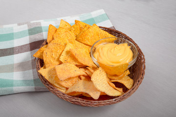 Nachos with cheese dip