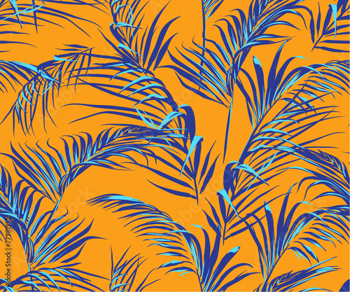 tropical palm leaves seamless pattern - 77981952