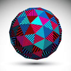 Triangular abstract dimensional striped sphere, colorful vector