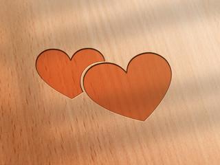 Herz - Holz - 2er