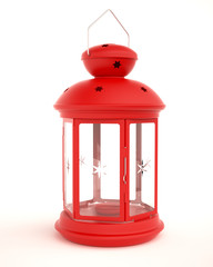 Lantern for Candle, Red Tin, Isolated on White