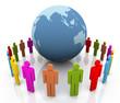 3d human around the globe