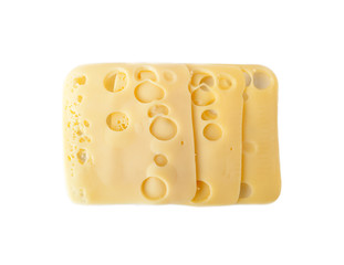 Three slices of Swiss cheese isolated over white