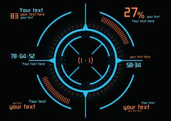 Futuristic blue and orange infographics