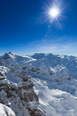 View from Titlis mountain in Switzerland towards the South