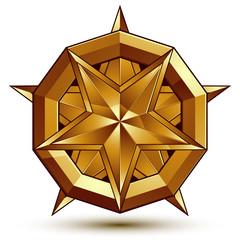 Sophisticated vector golden star emblem, 3d decorative design el